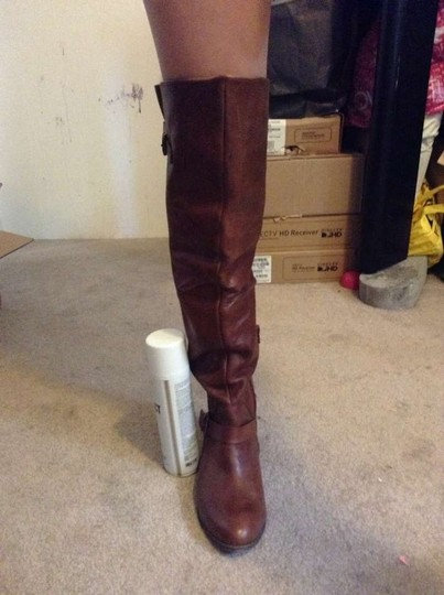 ALDO Over The Knee Faux Leather Brown Boots