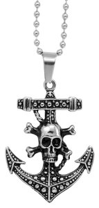 Skull and Cross Bones Anchor Pendant with Stainless Steel Chain