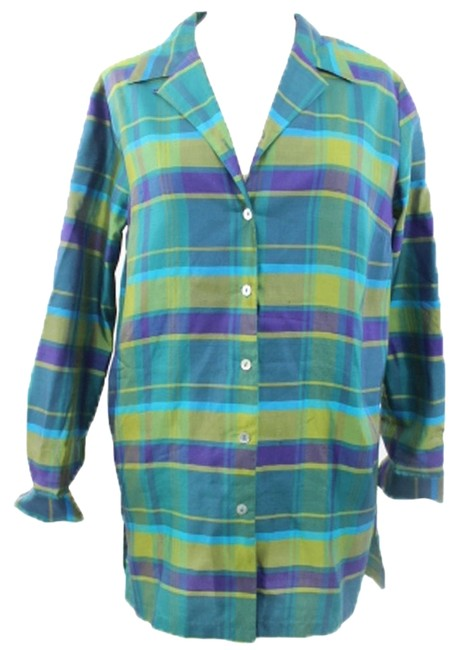 Anne Carson Anne Carson Woman Designer Multicolor Silk Plaid Buttoned Down Shirt Size L