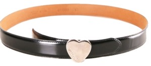 Moschino Moschino heart buckle black leather belt Italian sZ 48.
