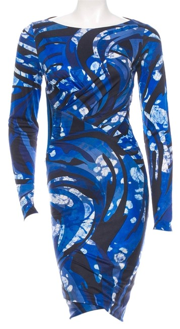 Emilio Pucci Silk Black White Longsleeve Print Ruched Dress