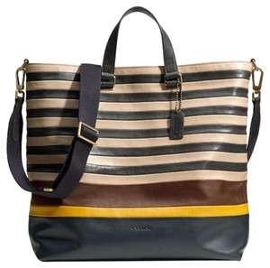 Coach Navy Brown Yellow Light Gray Travel Bag