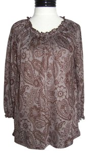 Kim Rogers Top Brown Paisley Print