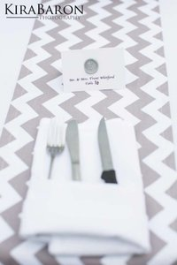 Light Grey & White Chevron Table Runners Tablecloth