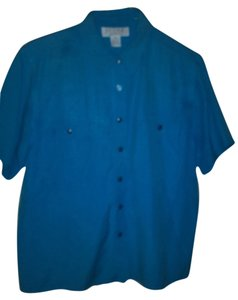 Petite Sophisticate Button Down Shirt Blue