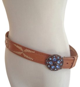 B-Low the Belt Blue&Amber Crystal Buckle On Vachetta Leather Belt 32