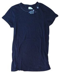J.Crew Embellished Beading Sequin T Shirt Navy Blue
