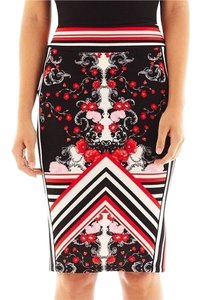Bisou Bisou Scuba Skirt Black and Red