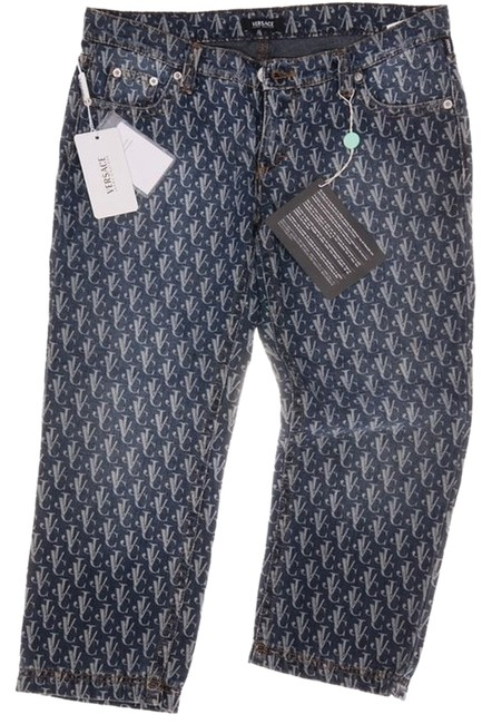 Item - Blue Distressed Logo Couture Most Wanted Capri/Cropped Jeans Size 33 (10, M)