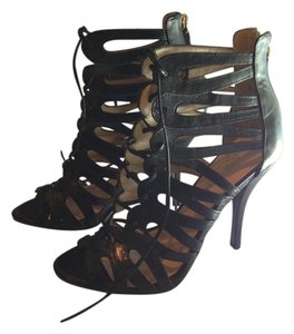 Nine West Leather Stiletto Black Sandals