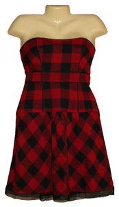 American Eagle Outfitters short dress Red Black Plaid Check Strapless Mini Size 4 on Tradesy