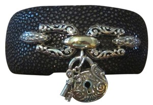 SimaLor Collection SimaLor Black Leather Adjustable Cuff w/14k Gold + 925 Sterling Silver Dangling Heart Lock + Key