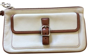 Coach Wristlet in White/tan leather