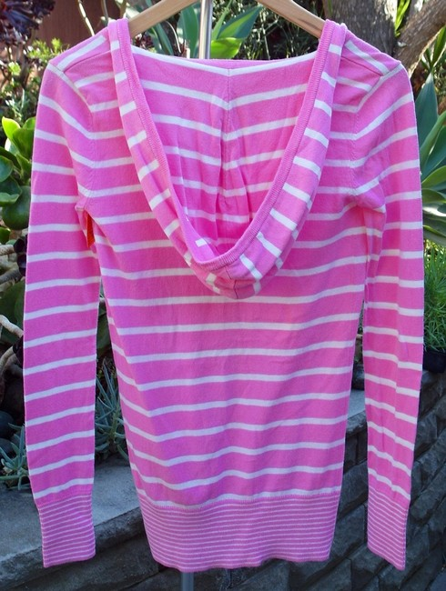 Victoria's Secret Hooded Hoodie Longsleeve Cardi V-neck Button Down Button Front Striped Cotton Cardigan