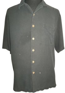 Paradise Blue Men's Shirt by Paradise Blue, Black Waffle Weave, 100% Silk, Short Sleeve