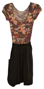 Velvet Torch short dress Black and Floral Hourglass Spring Tie-waist Cotton Comfortable Fresh Scoop Neck on Tradesy