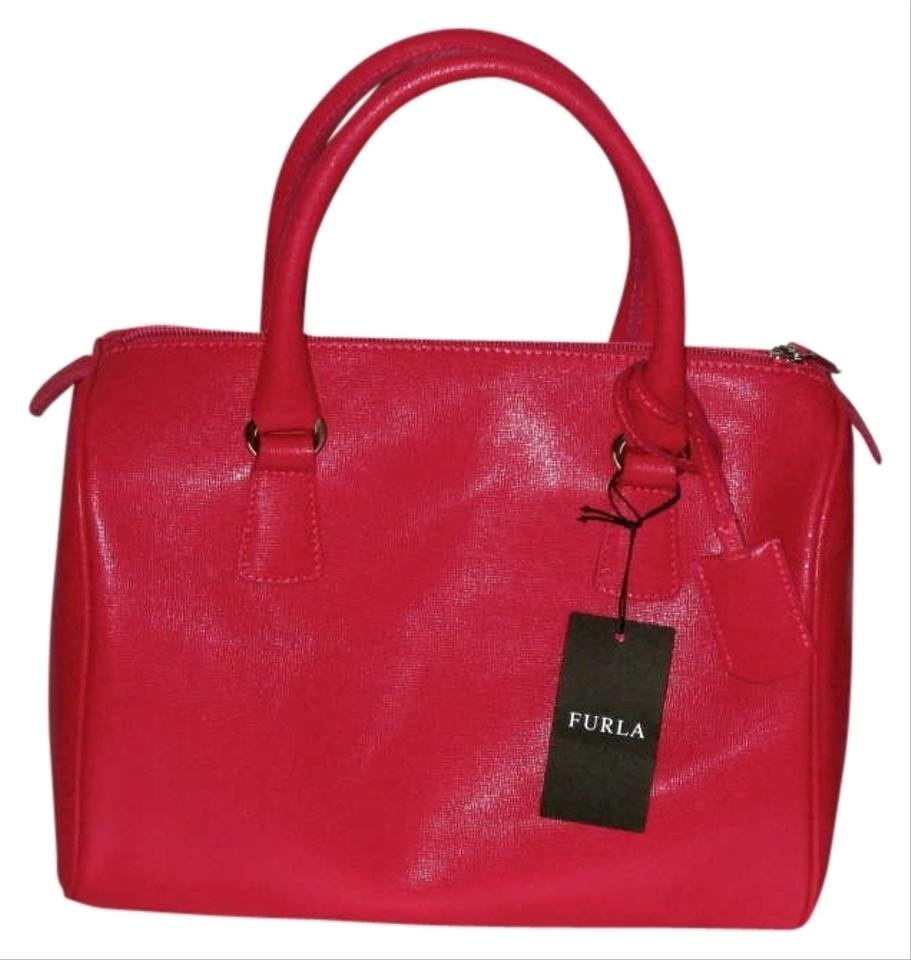 Furla Leather Made In Italy Satchel In Bright Hot Pink ...