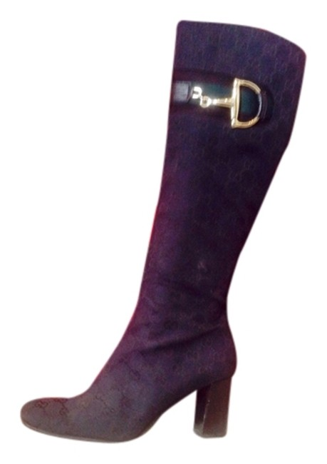 Item - Black with Gold Horsebit Gg Monogram Canvas Buckle Tall Boots/Booties Size US 8 Narrow (Aa, N)