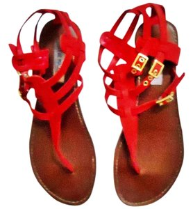 Steve Madden Suede Gold Hardware Strappy red Sandals
