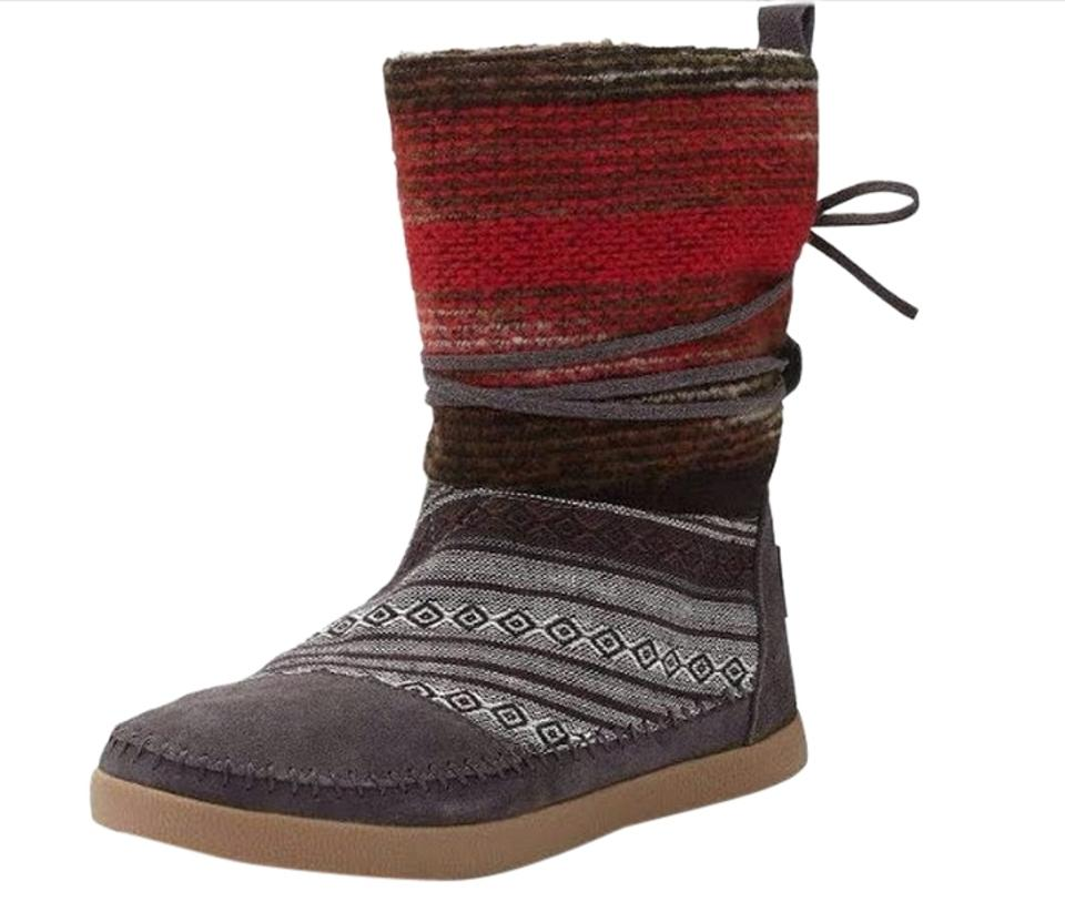 5f013dae84e TOMS Gray Red Nepal Mixed Woven Boots Booties. Size  US 8 Regular (M ...