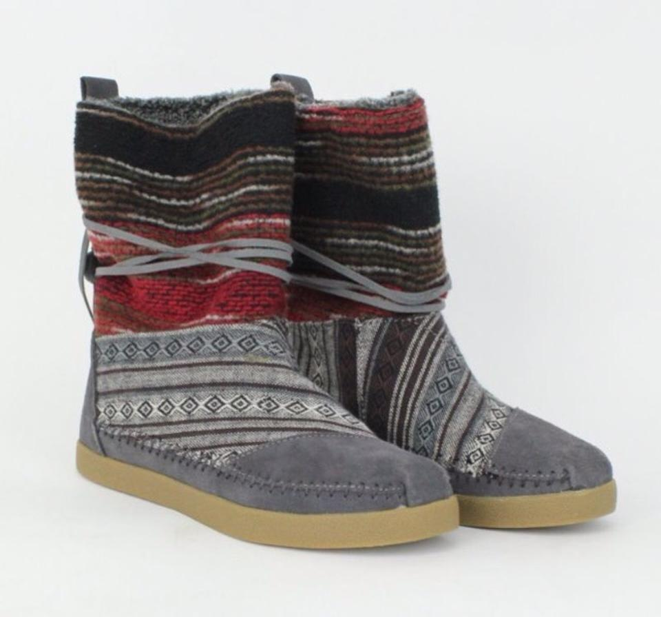 43ac5cb3fb1 TOMS Gray Red Nepal Mixed Woven Boots Booties Size US 8 Regular (M ...