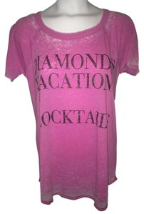 Chaser Burnout Shirt Vintage New Diamonds Cocktails Vacation Vacations La T Shirt Pink