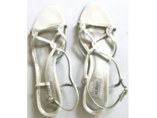 Alfani Silver Strappy Embellished Leather white Sandals