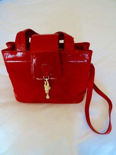 Barry Kieselstein-Cord Fantastic Color On Trend Satchel in Red and Gold