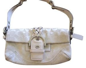 Coach Leather Monogram Canvas Silver Hardware Hangtag Shoulder Bag