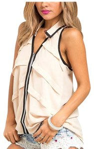 Pastel Design Zip Up Racerback Tiered Top Peach & Black