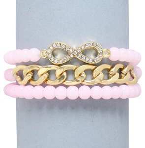 Other Soft Pastel Baby Pink Beads Gold Chain Link Crystal Accent Multilayer Stretchable Infinity Bracelet Arm Candy
