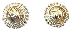 BOGO FREE - Vintage Swirled silver clip earrings round dome with rope & chain border, simple - sleek