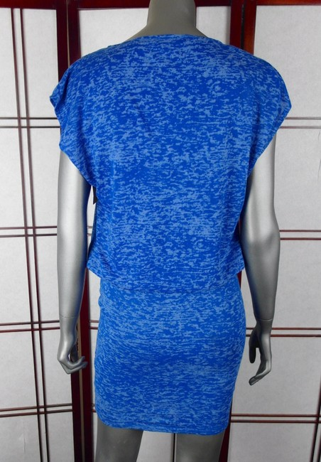 Alice + Olivia short dress Cobalt Blue Cowl Neck Drape Burnout Blouson Short Sleeve Short Above The Knee Fitted Mini Wiggle on Tradesy