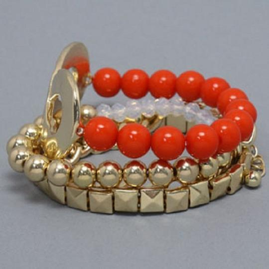 Other Coral Beads AB Gold Chain Link Accent Multilayer 4 Layer Stretchable Infinity Bracelet