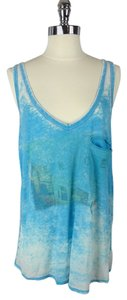 Brokedown 70's 1970 Hippy Modern Coachella Distressed Peace Top Turquoise