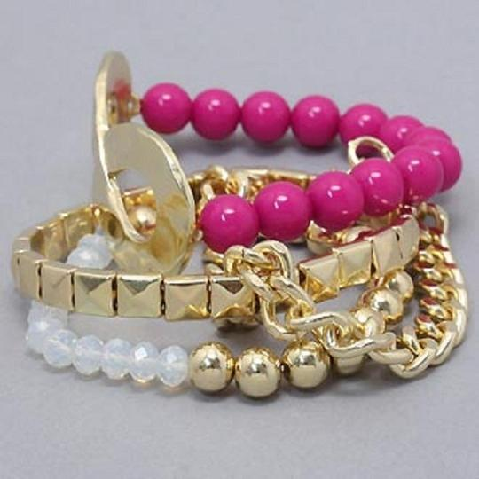 Other Pink Beads AB Gold Chain Link Accent Multilayer 4 Layer Stretchable Infinity Bracelet