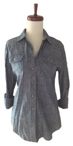 BDG Chambray Denim Jean Shirt Button Down Shirt Blue