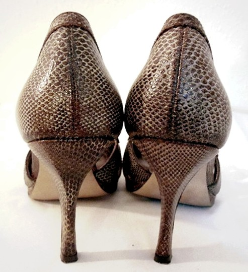 Anne Klein Cutout Snake Embossed Leather Brown Pumps