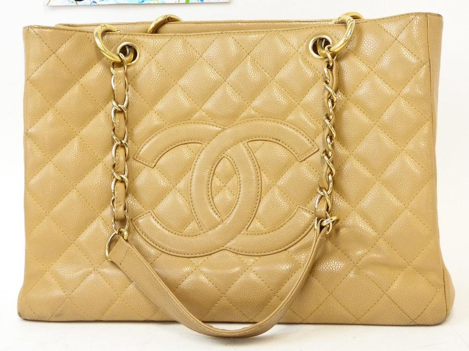 03ec19ce532a Chanel Shopping Tote Gst Grand Beige Caviar Leather Shoulder Bag ...