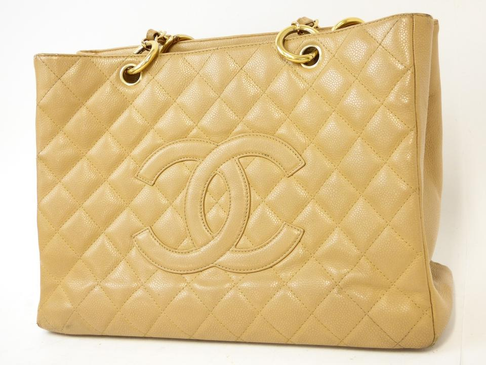 16f0e510d3ac Chanel Shopping Tote Gst Grand Beige Caviar Leather Shoulder Bag ...