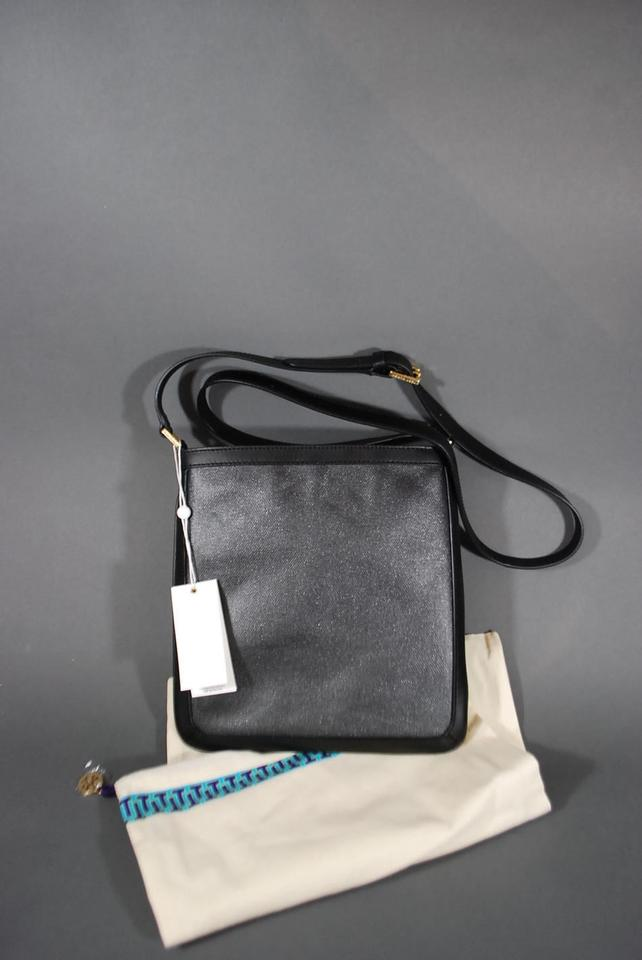 deae773317 Tory Burch Holly Bookbag Purse New Black Leather   Nylon Cross Body ...