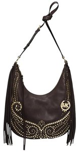 MICHAEL Michael Kors Rhea Studded Leather Medium Chocolate Cross Body Bag