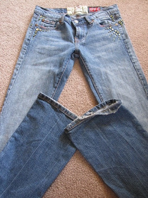 7 For All Mankind Great Wall China Crystal Beaded Boot Cut Jeans-Medium Wash