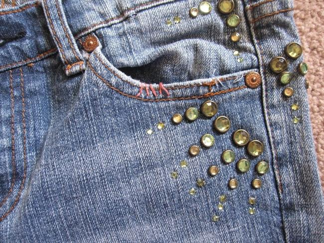 7 For All Mankind Great China Crystal Beaded Boot Cut Jeans-Medium Wash