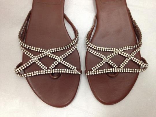 Beverly Feldman Leather Flats Fancy Brown and Stones Sandals