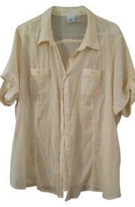 Just My Size Womens Shirt 2x New Free Shipping Gauze Button Up Top yellow