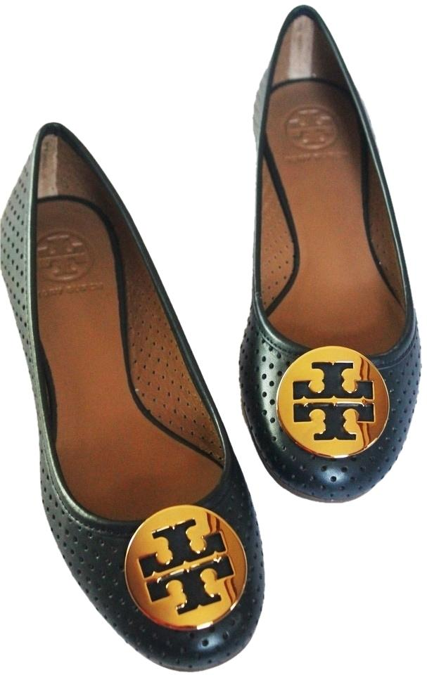 050715a0caa Tory Burch Navy Reva Perforated Leather Gold Logo Ballet Style No ...