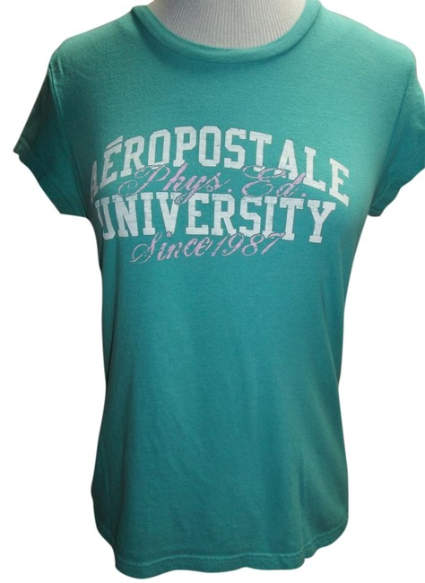 Aéropostale Cap Sleeve Large Lettering Baby Tee T Shirt Turquoise