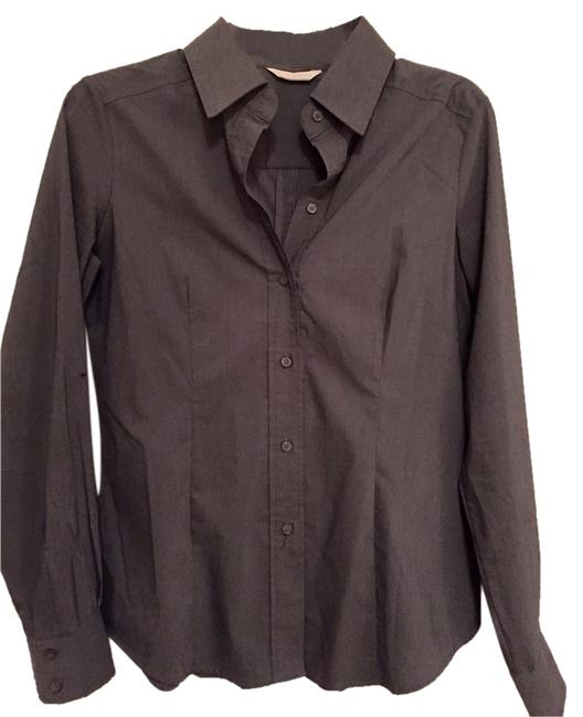 New York & Company Button Down Shirt Charcoal