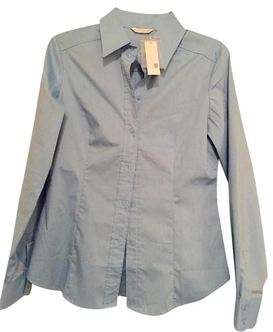 New York & Company Button Down Shirt Light Blue